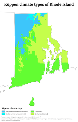Köppen climate types of Rhode Island