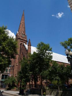 Grace Church, a historic church at 175 Mathewson Street in Providence, Rhode Island.