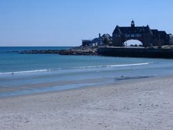 Narragansett Towers and Narragansett Town Beach, one of Rhode Island's tourist destinations.