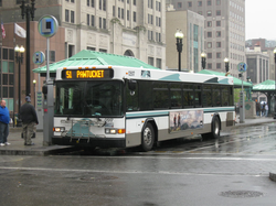 A RIPTA bus at Kennedy Plaza