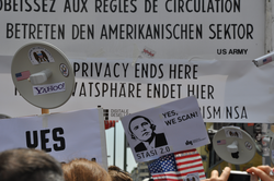 Demonstration at Checkpoint Charlie in Berlin during Barack Obama's visit, June 18, 2013