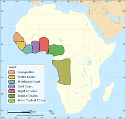Major slave trading regions of Africa, 15th–19th centuries