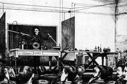 Wireless transmission of power and energy demonstration during his 1891 lecture on high frequency and potential