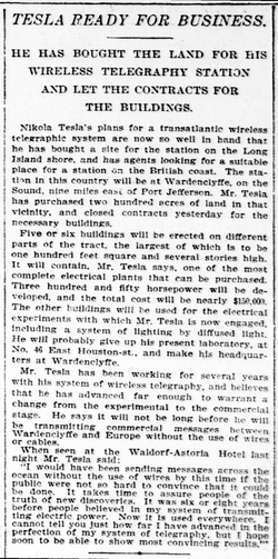 Tesla Ready for Business – 7 August 1901 New-York Tribune article
