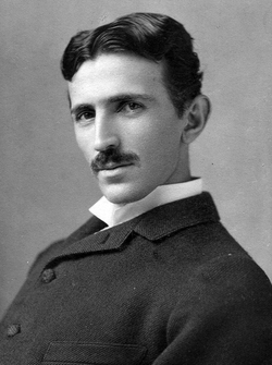 Tesla, aged 34, in an 1890 photo by Napoleon Sarony
