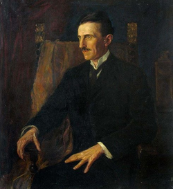 Tesla's portrait – Blue Portrait – from 1916, painted by then-Hungarian princess, Vilma Lwoff-Parlaghy