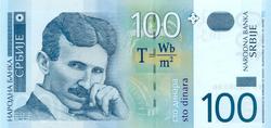 Nikola Tesla on 100 Serbian dinar banknote