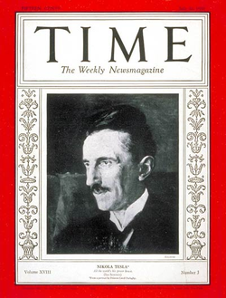 Tesla on cover of Time magazine for 20 July 1931