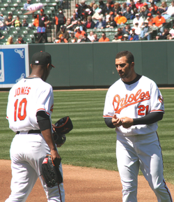 Adam Jones and Nick Markakis, Orioles v. Tampa Bay Rays, Camden Yards, April 12, 2009.