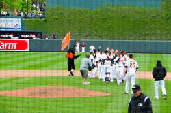 The Orioles celebrate a 6–5 victory over the Mariners at Camden Yards on May 13, 2010.