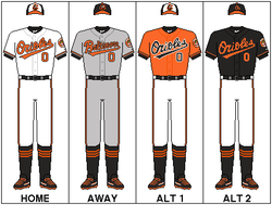 The 2012 uniforms. Left to right: Home, Away, Saturday (away with gray pants), Friday (away with gray pants.).
