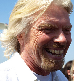 Branson in April 2009 at the launch of Virgin America in Orange County, California.