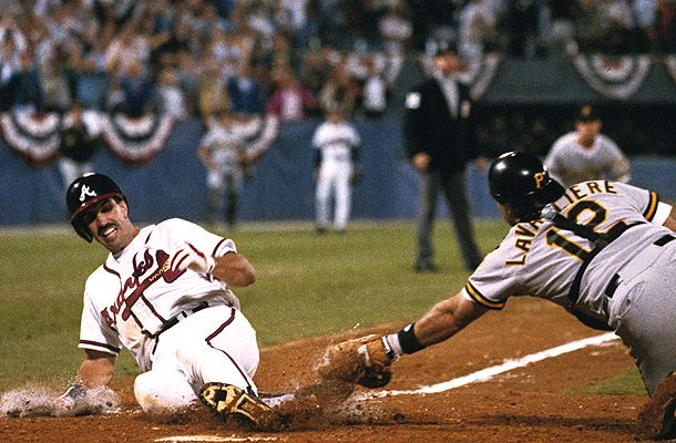Sid Bream sliding in safely at home, scoring the winning run in Game 7 of the1992 NLCS