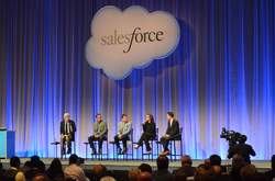 A discussion panel at Salesforce's Customer Company Tour event that focused on customer relationship management