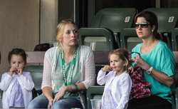 Federer's family watching him in Indian Wells, California, 2012