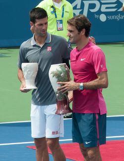 Federer and Djokovic in the 2015 Cincinnati Masters final.