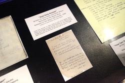 "An exhibit showcasing an original ""God Only Knows"" lyric manuscript at the Rock and Roll Hall of Fame in Cleveland, Ohio"