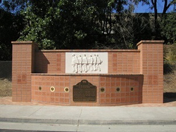 Monument on the site of the Wilsons' childhood home, now deemed a historic landmark by the state of California