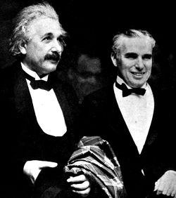 Charlie Chaplin                                and Einstein at the                                 Hollywood                                premiere of                                                   City Lights                                                 , January 1931