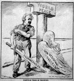 """Cartoon of Einstein, who has shed his """"Pacifism"""" wings, standing next to a pillar labeled """"World Peace."""" He is rolling up his sleeves and holding a sword labeled """"Preparedness"""" (by Charles R. Macauley, c. 1933)."""