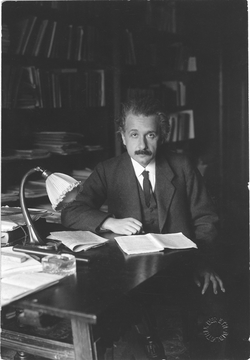 Einstein at his office, University of Berlin, 1920