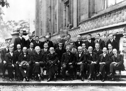 The 1927 Solvay Conference in Brussels, a gathering of the world's top physicists. Einstein in the center.
