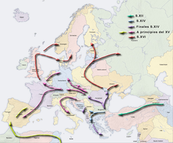 The migration of the Romanies through the Middle East and Northern Africa to Europe