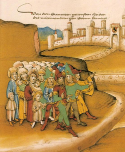 """First arrival of the Romanies outside Bern in the 15th century, described by the chronicler as getoufte heiden (""""baptized heathens"""") and drawn with dark skin and wearing Saracen -style clothing and weapons (Spiezer Schilling, p. 749)"""