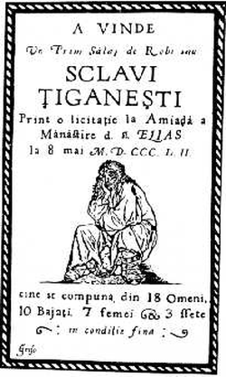 An 1852 Wallachian poster advertising an auction of Romani slaves in Bucharest.