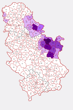 Romanian language in entire Serbia                                 (see also                                   Romanians of Serbia                                  )                                , census 2002                                                                                                                                                         1–5%                                                                                                       5–10%                                                                                                       10–15%                                                                                                                                             15–25%                                                                                                       25–35%                                                                                                       over 35%
