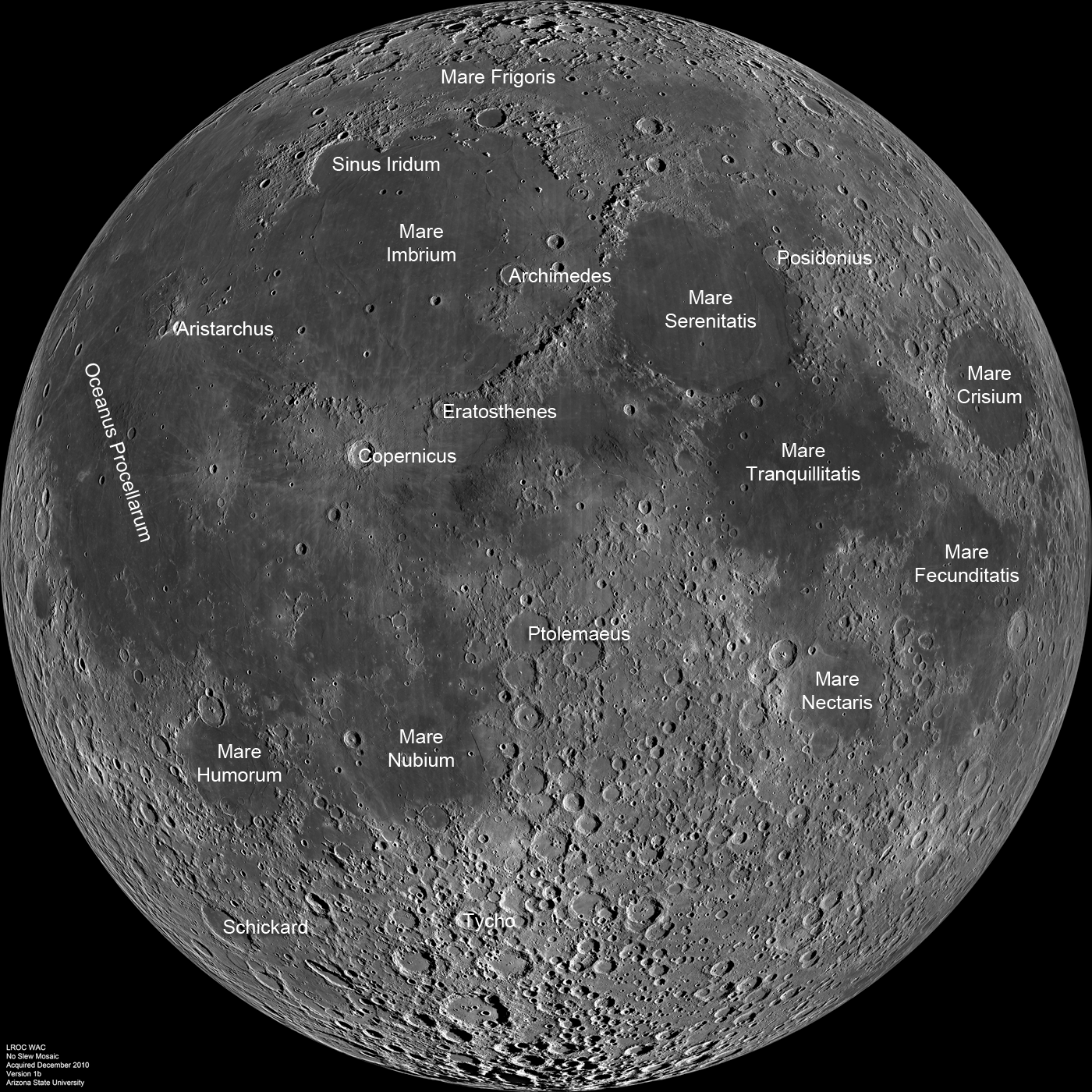 Moon, nearside, with named major areas.  Source: http://scienceblogs.com/startswithabang/files/2011/03/lroc_wac_nearside_noslew_anot.png