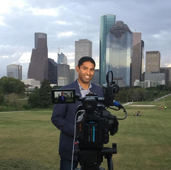 Steven D'Souza setting up a video shoot atBuffalo Bayou Park inHouston, Texas [9]