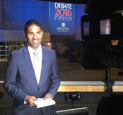 Steven D'Souza reporting live from the first2016 United States Presidential Election DebateatHofstra University inLong Island[9]