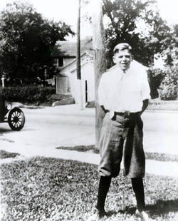 Ronald Reagan as a teenager in                                 Dixon                                , Illinois.