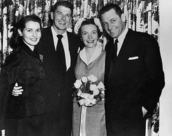 Matron of honor                                 Brenda Marshall                                and best man                                 William Holden                                , sole guests at Ronald and                                 Nancy Reagan                                's wedding in 1952.