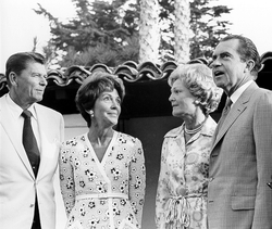 The Reagans meeting with President                                 Richard Nixon                                and First Lady                                 Pat Nixon                                in July 1970