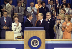 Ronald Reagan on the podium with Gerald Ford at the 1976 Republican National Convention after narrowly losing the presidential nomination.