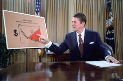 Reagan gives a televised address from the                                 Oval Office                                , outlining his plan for Tax Reduction Legislation in July 1981.
