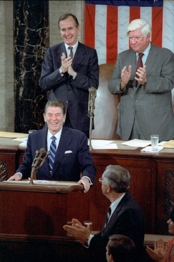 President Reagan delivers a special address to Congress on the Program for Economic Recovery from the U.S. Capitol, April 28, 1981, a few weeks after surviving an                                 assassination attempt                                .