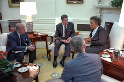 Reagan meets with Prime Minister                                 Eugenia Charles                                of Dominica in the                                 Oval Office                                about ongoing events in Grenada.