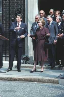 UK Prime Minister                                 Margaret Thatcher                                , seen here with Reagan outside                                 10 Downing Street                                , London in June 1982, granted the U.S. use of British airbases to launch the Libya attack