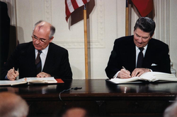 Gorbachev and Reagan sign the                                 INF Treaty                                at the White House in 1987