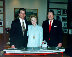 The Reagans with a model of                                 USS Ronald Reagan                                , May 1996. At left is                                 Newport News Shipbuilding                                Chairman and CEO Bill Fricks.