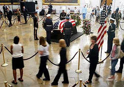 Reagan's casket                                 lying in state                                in the                                 United States Capitol rotunda
