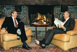 United States President Ronald Reagan (left) and President of the                                 Soviet Union                                                 Mikhail Gorbachev                                meet in 1985.