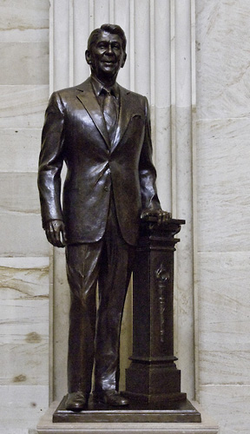A bronze statue of Reagan stands in the                                 Capitol rotunda                                as part of the                                 National Statuary Hall Collection