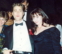 Doherty with Jason Priestley at the Governor's Ball following the 43rd Annual Emmy Awards, August 1991