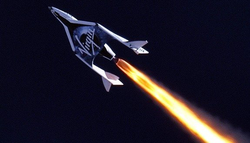 Virgin Galactic SpaceShipOne ascends on a suborbital trajectory