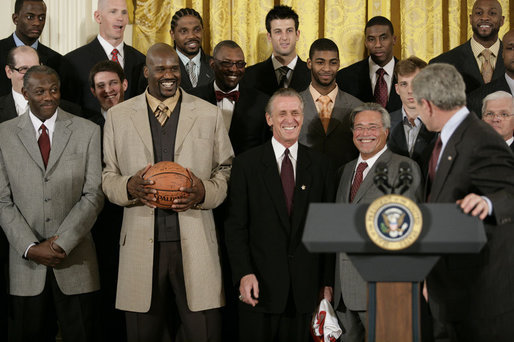 O'Neal holding the championship ball when the NBA Champion Heat visited the White House