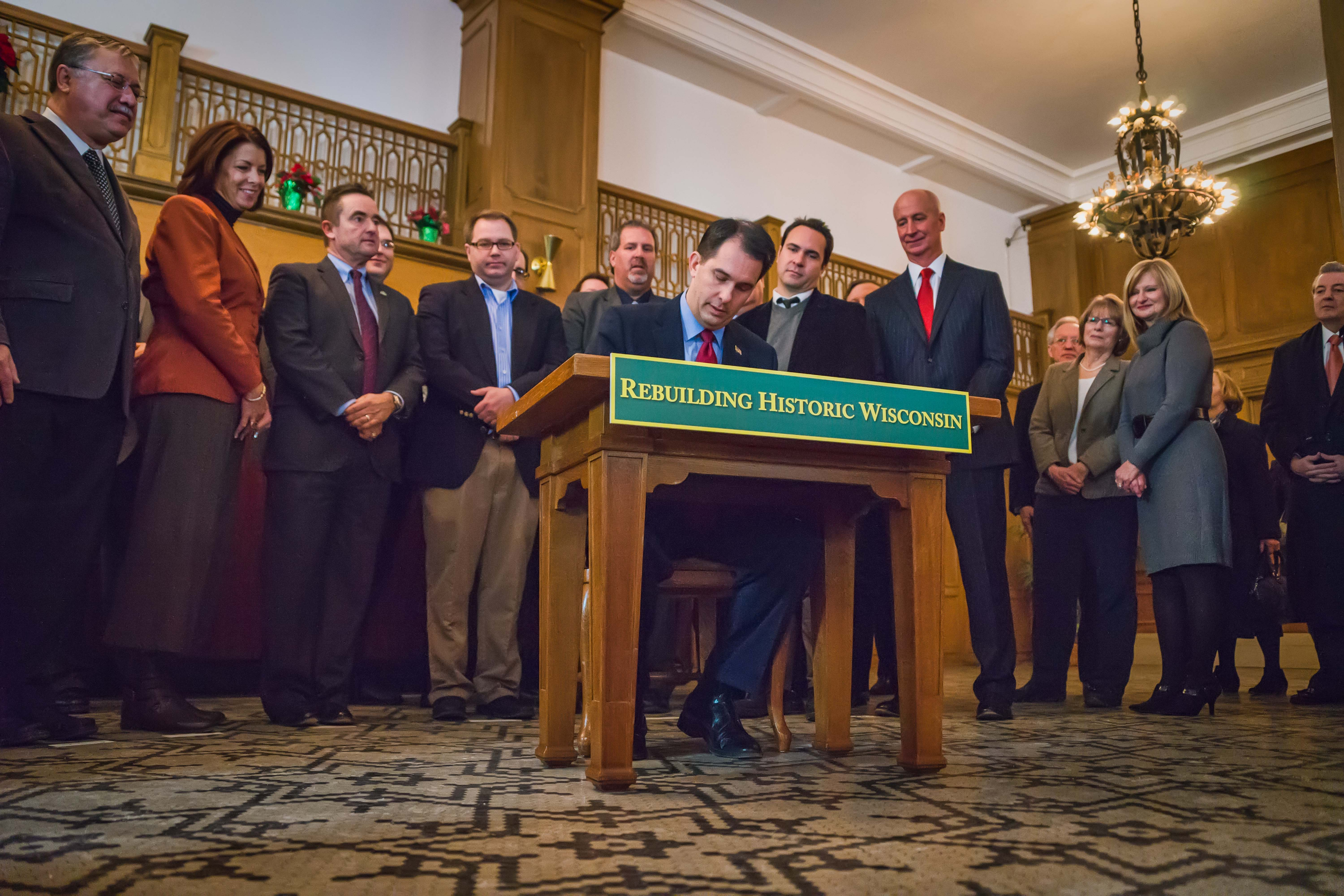 Walker signing Historic Tax Credit Bill December 11, 2013 at Hotel Northland